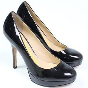 Joan & David black patent platform stiletto pump
